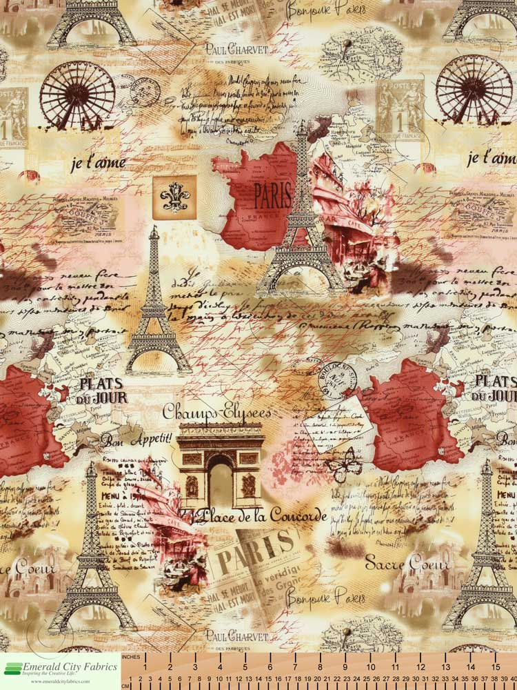 Timeless Treasures April In Paris Sepia Fabric Emerald